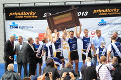 Celebration of victory in 100th Primatorky rowing Stock Photography