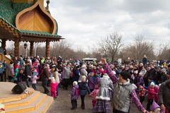Celebration of week of pancake (Maslenitsa) in Kolomenskoje park Royalty Free Stock Image