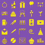 Celebration yellow icons on violet background Stock Photography