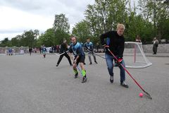 Russia, Murmansk-June 24, 2018: celebration of youth day in Russia, youth plays hockey. Celebration of youth day in Russia, youth plays hockey royalty free stock photo