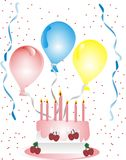 Celebrations of all kinds. Celebrating with balloons, streamers and cake Royalty Free Stock Image