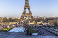 Celebrations at the Eiffel Tower in Paris. France Royalty Free Stock Images