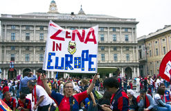 Celebrations for Europa League. Celebrations in Genoa for the qualification of Genoa CFC in Europa League stock photo