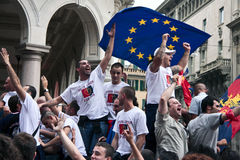 Celebrations in Genoa. For the qualification of Genoa CFC in Europa League stock photography