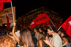 Celebrations in Greece after the referendum results Royalty Free Stock Images