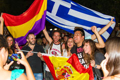 Celebrations in Greece after the referendum results Stock Photos