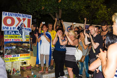 Celebrations in Greece after the referendum results Stock Photo