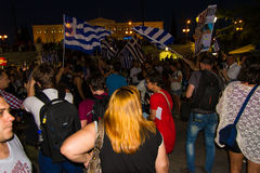 Celebrations in Greece after the referendum results Royalty Free Stock Photography
