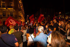 Celebrations in Greece after the referendum results Stock Image