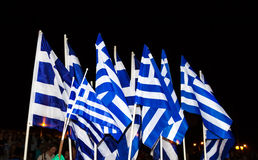 Celebrations in Greece after the referendum results Royalty Free Stock Photos