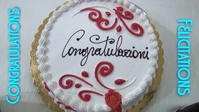 Celebrations for the happy event with the words Congratulations and Felicitations on the sides