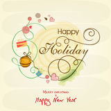 Celebrations of Happy Holiday, Merry Christmas and New Year. Creative greeting card design for Happy Holidays, Merry Christmas and Happy New Year celebrations Royalty Free Stock Images