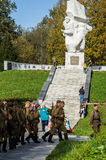 Celebrations in honor of the anniversary of liberation from Nazi invaders in the memorial in the village of Ilinskoe in Kaluga reg. The village Ilinskoe is one Royalty Free Stock Photos