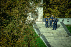 Celebrations in honor of the anniversary of liberation from Nazi invaders in the memorial in the village of Ilinskoe in Kaluga reg. The village Ilinskoe is one Royalty Free Stock Photography