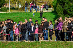 Celebrations in honor of the anniversary of liberation from Nazi invaders in the memorial in the village of Ilinskoe in Kaluga reg. The village Ilinskoe is one Royalty Free Stock Image