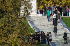 Celebrations in honor of the anniversary of liberation from Nazi invaders in the memorial in the village of Ilinskoe in Kaluga reg. The village Ilinskoe is one Royalty Free Stock Images
