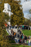 Celebrations in honor of the anniversary of liberation from Nazi invaders in the memorial in the village of Ilinskoe in Kaluga reg. The village Ilinskoe is one Stock Images
