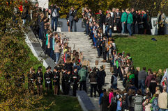 Celebrations in honor of the anniversary of liberation from Nazi invaders in the memorial in the village of Ilinskoe in Kaluga reg. The village Ilinskoe is one Royalty Free Stock Photo