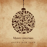 Celebrations of Merry Christmas and Happy New Year. Big X-mas Ball made by lots of Christmas ornaments on grungy brown background, can be used as poster, banner stock illustration