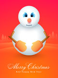Celebrations of Merry Christmas and Happy New Year. Cute snowman on X-mas Tree decorated background for Merry Christmas and Happy New Year celebrations Stock Image