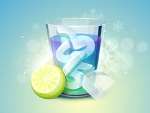 Celebrations of Merry Christmas and Happy New Year. 3D text 2015 in glass with lemon and ice cube on snowflakes decorated blue background for Merry Christmas Stock Images