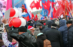 Celebrations in Red Square after Crimea decision stock image