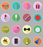 Celebrations set flat icons vector illustration Royalty Free Stock Photography