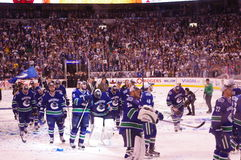 Celebrations of Vancouver Canucks. Winning game 5 against San Jose Sharks in second overtime period and advancing to Stanley Cup finals on May 24, 2011 stock images