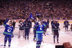 Celebrations of Vancouver Canucks. Winning game 5 against San Jose Sharks in second overtime period and advancing to Stanley Cup finals on May 24, 2011 stock photo
