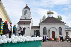 Celebrations and worship in the Orthodox Church of the Transfiguration in Gomel (Belarus). Stock Photos