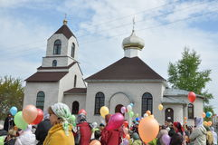 Celebrations and worship in the Orthodox Church of the Transfiguration in Gomel (Belarus). Royalty Free Stock Photography