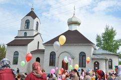 Celebrations and worship in the Orthodox Church of the Transfiguration in Gomel (Belarus). Stock Image