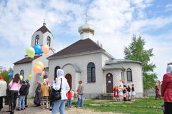 Celebrations and worship in the Orthodox Church of the Transfiguration in Gomel (Belarus). Royalty Free Stock Photo