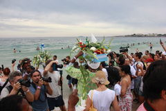 Celebrations of Yemanja at Copacabana Beach Stock Image