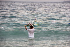 Celebrations of Yemanja at Copacabana Beach Royalty Free Stock Photography