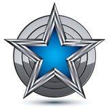 Celebrative glamorous geometric symbol, stylized pentagonal blue Stock Photos