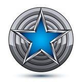 Celebrative glamorous geometric symbol, stylized pentagonal blue Royalty Free Stock Image
