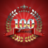 Celebrative Golden Badge for 100th Anniversary Royalty Free Stock Photography