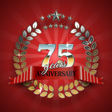 Celebrative Golden Frame for 75th Anniversary. Stock Photos