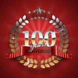 Celebrative guld- emblem för den 100. årsdagen Royaltyfri Fotografi