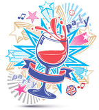 Celebrative leisure backdrop with musical notes, glass goblet of Royalty Free Stock Photo