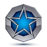 Celebrative metallic geometric symbol, stylized pentagonal blue Stock Photo