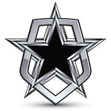 Celebrative vector silver emblem with black pentagonal star, 3d Royalty Free Stock Photo