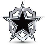 Celebrative vector silver emblem with black pentagonal star, 3d Stock Photo