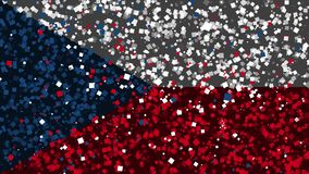 Celebratory animated background of flag of Czech Republic appear from fireworks stock video footage