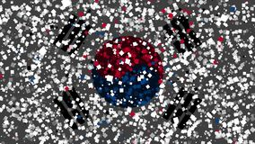 Celebratory animated background of flag of South Korea appear from fireworks