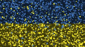 Celebratory animated background of flag of Ukraine appear from fireworks stock footage