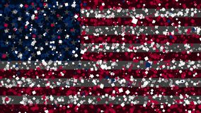 Celebratory animated background of flag of United States of America appear from fireworks stock video