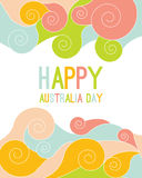 Celebratory Australia Day background. With flowers and leaves. layout design template for cards, banner, poster, flyer. Tipografiya vector illustration Royalty Free Stock Images