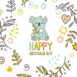 Celebratory Australia Day background. Happy Australia Day with a cartoon koala. Celebratory background with flowers and leaves. layout design template for cards Royalty Free Stock Photos